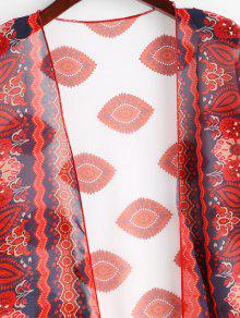 9c129e772eb2a 25% OFF] 2019 Eye Flower Kimono Cover Up In RED | ZAFUL New Zealand
