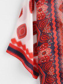 9799bdfde570d 25% OFF] 2019 Eye Flower Kimono Cover Up In RED | ZAFUL