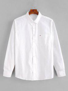 قميص الجيب الصدر عارضة - أبيض S