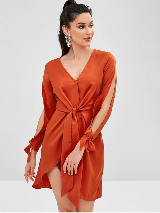 affordable ZAFUL Split Sleeve Tied Waist Plunge Dress - CHOCOLATE S
