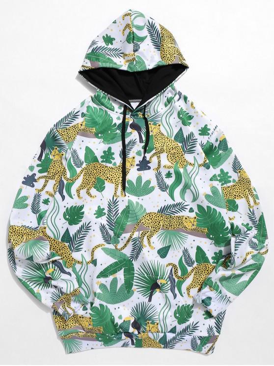 women Leaf Leopard Print Kangaroo Pocket Hoodie - MULTI M