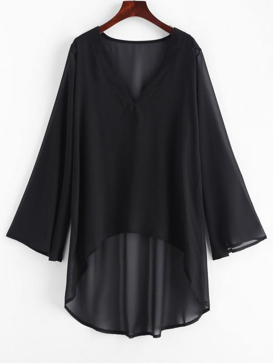 women's Chiffon High Low Beach Cover Up Dress - BLACK ONE SIZE