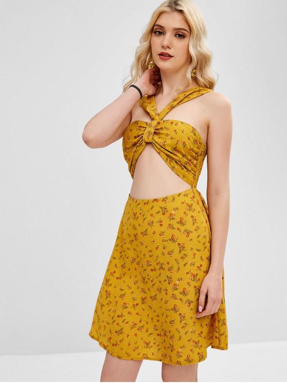 hot ZAFUL Floral Print Cut Out Flare Dress - ORANGE GOLD M