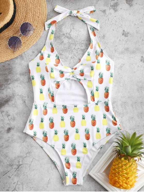 new ZAFUL Pineapple Cinched Cutout Halter Swimsuit - WHITE M