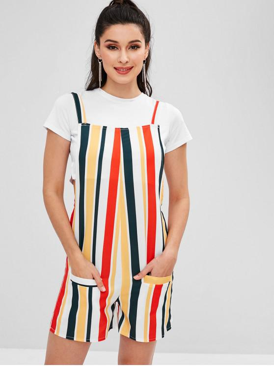 lady ZAFUL Stripes Pockets Overall Romper - MULTI S