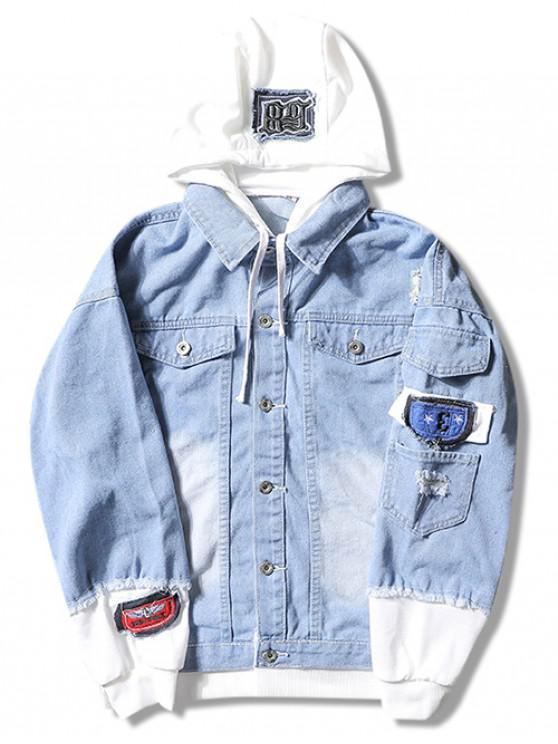 unique Casual Faux Pocket Ripped Letter Number Applique Hooded Jacket - LIGHT BLUE 2XL