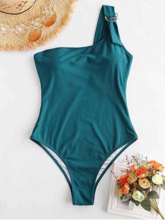 ZAFUL Badeanzug mit einer Schulter und hohem Bein - Pfauenblau L