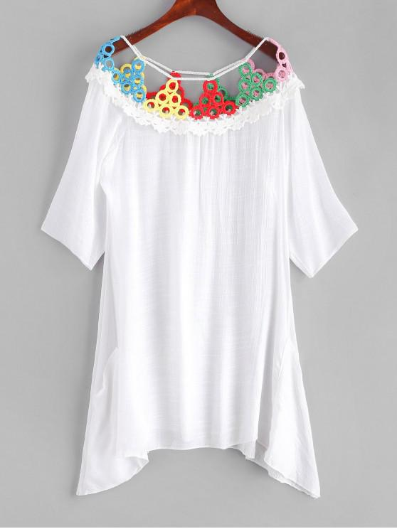 affordable Crocheted Panel Cover-up Dress - MULTI-A ONE SIZE