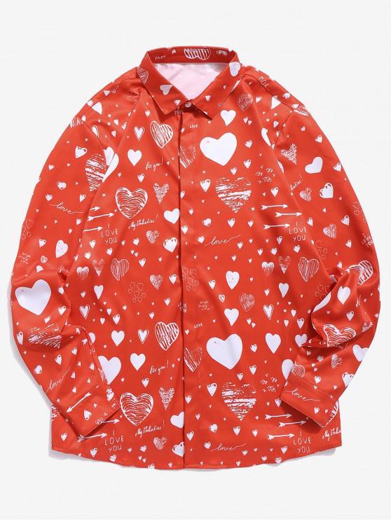Camicia Stampata A Lettere Con Bottoni Nascosti - Rosso Lava  2XL