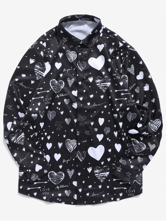 Botón oculto de la letra de amor camisa oculta - Negro L