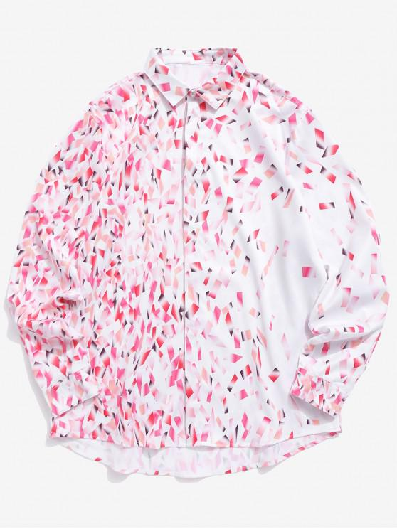 best Colorful Bars Print Button Hidden Long Sleeve Valentine Shirt - PIG PINK S