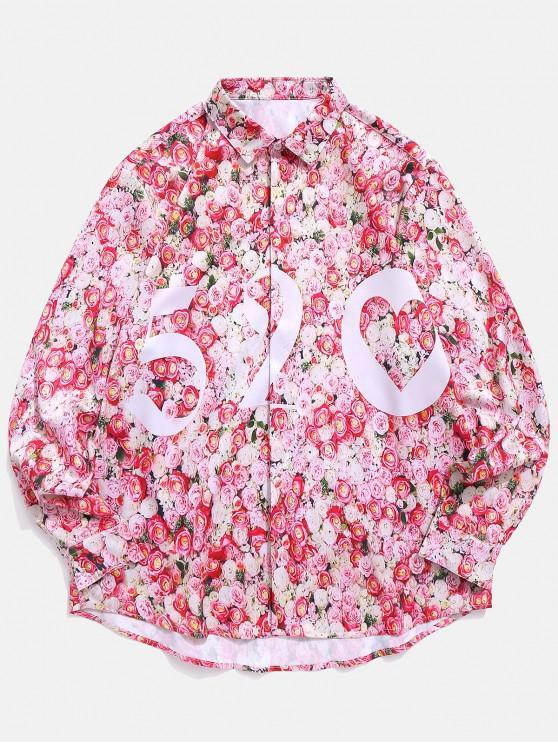 women's Floral Print Valentine Shirt - LIGHT PINK L