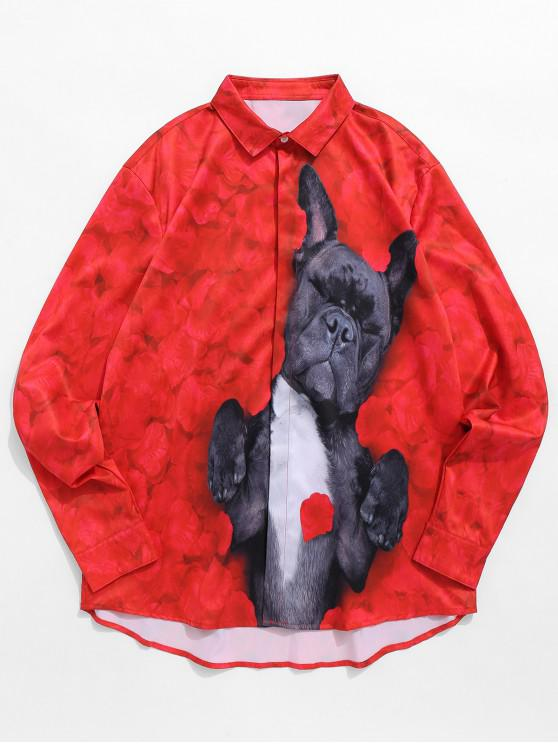 chic Dog Lying In the Flowers Printed Shirt - LAVA RED M