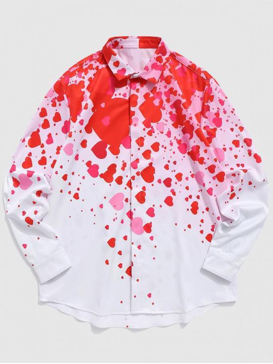 Valentinstag liebevolles Herz Print Shirt - Lava Rot L