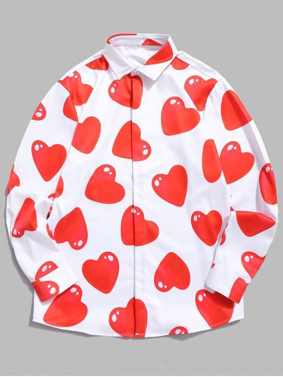 Camisa con estampado de corazones rojos en 3D - Blanco XL
