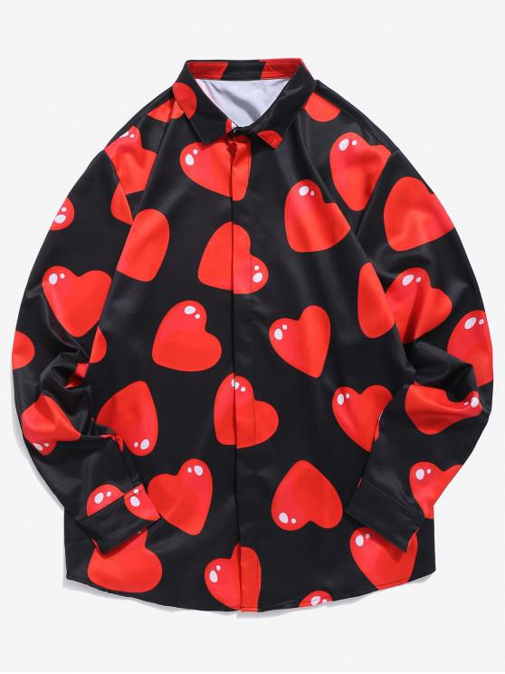 women's 3D Red Love Heart Print Shirt - BLACK L