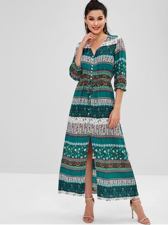 outfits Floral Print Drawstring Button Up Boho Dress - MULTI 2XL
