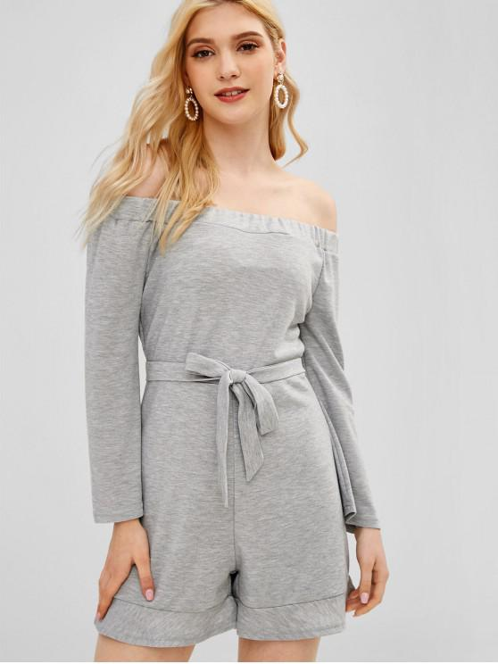 fashion Flared Long Sleeve Off The Shoulder Romper - GRAY CLOUD L