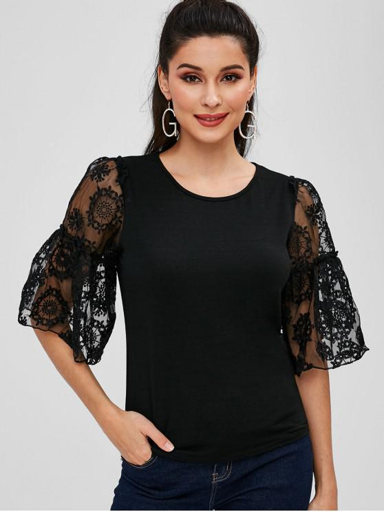 fancy Embroidered Voile Panel Top - BLACK S