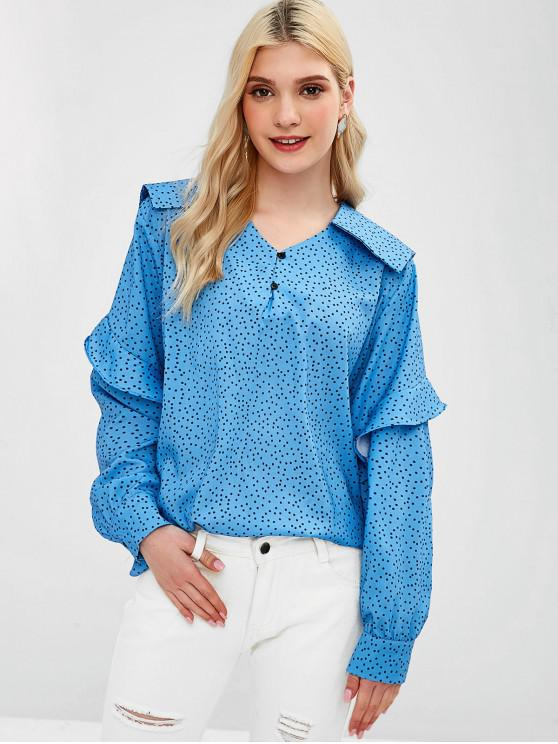 hot Half Buttoned Dotted Ruffles Top - CRYSTAL BLUE L
