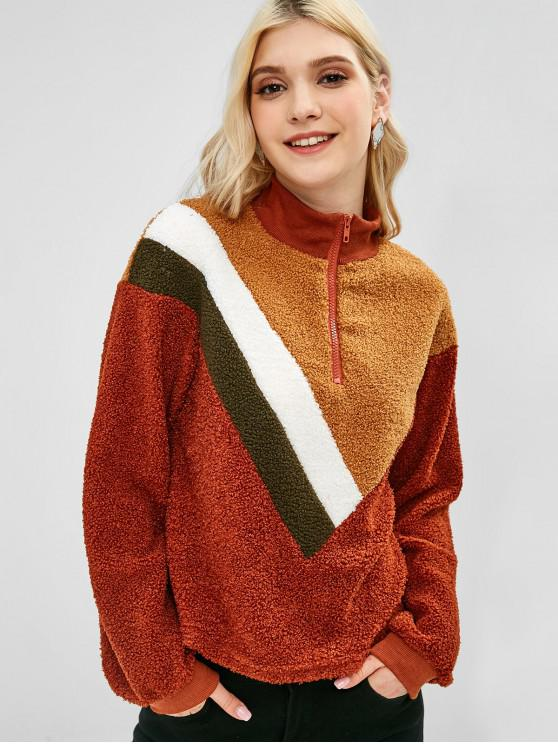 buy Patchwork Half-zip Fluffy Sweatshirt - BROWN L