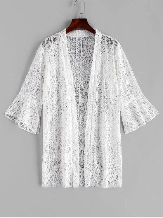 outfits Floral Lace Flare Sleeve Cover Up - WHITE ONE SIZE