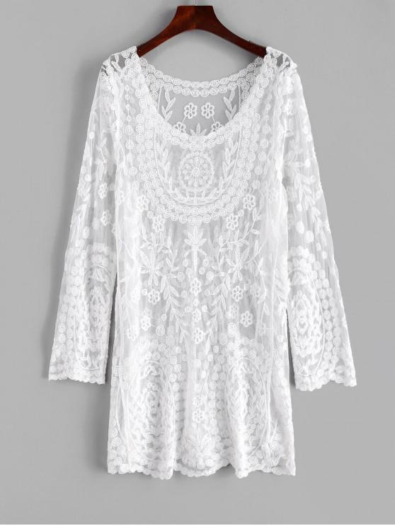 shops Floral Lace Long Sleeve Cover Up Dress - WHITE ONE SIZE