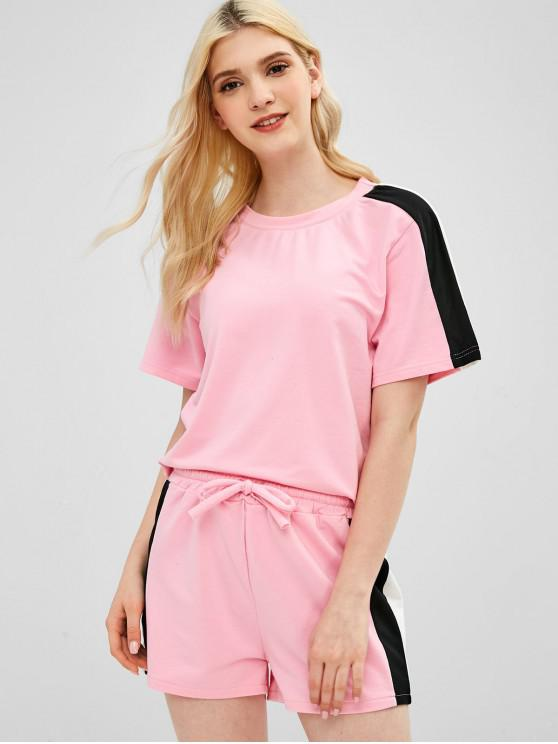 hot ZAFUL Sweat Top Shorts Two Piece Tracksuit Set - PINK L