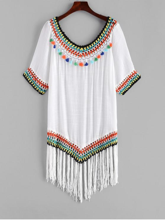 online Tassel Crochet Cover Up Dress - WHITE ONE SIZE