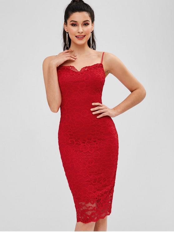 Figurbetontes Kleid aus Spitze mit Cami-Ausschnitt - Rot L