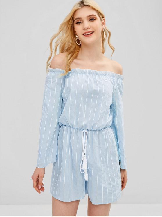 online Striped Off The Shoulder Bell Sleeve Romper - BABY BLUE S