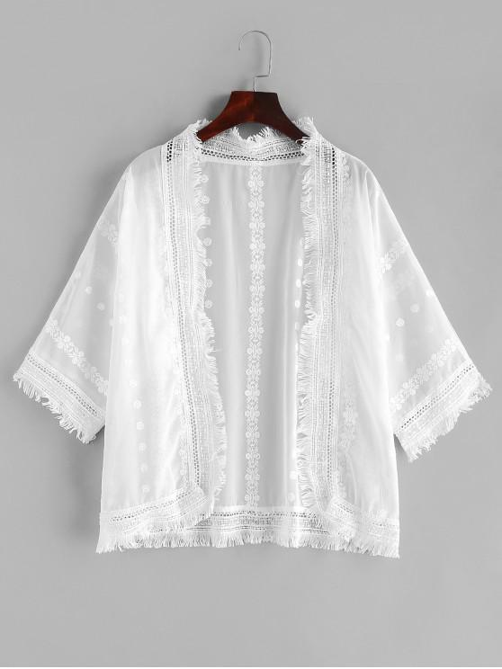 shops Crochet Frayed Batwing Sleeve Cover Up - WHITE ONE SIZE