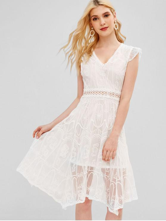 fashion Embroidered Open Back Dress - WHITE S