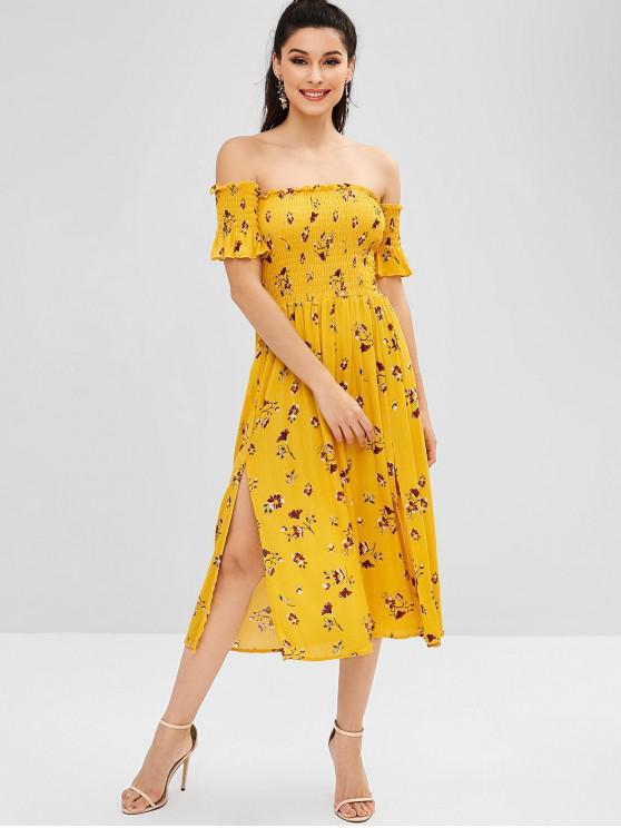 shop Smocked Slit Floral Off Shoulder Dress - GOLDEN BROWN L