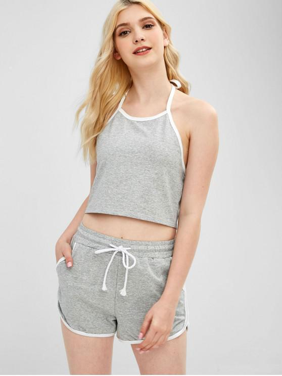 trendy Crop Top and Dolphin Shorts Two Piece Set - GRAY CLOUD M