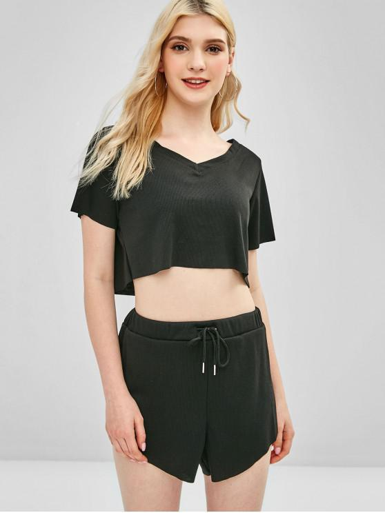 ladies Ribbed Sporty Crop Tee and Shorts Two Piece Set - BLACK M