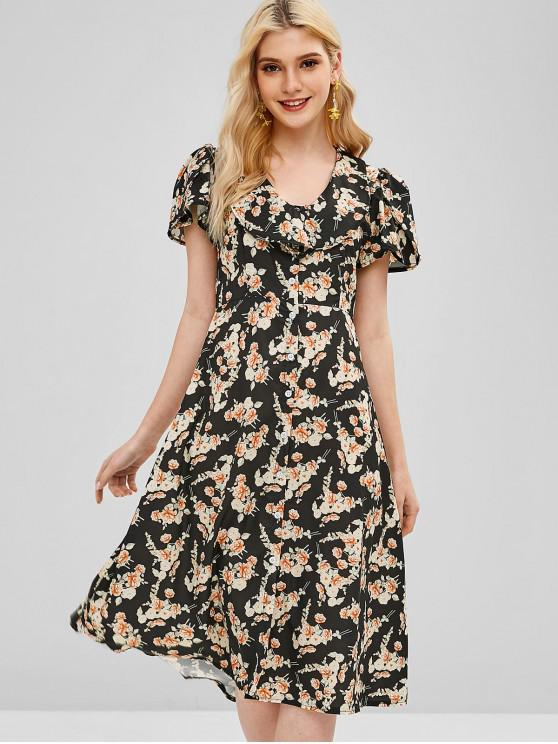affordable Ruffles Button Up Floral Dress - BLACK S