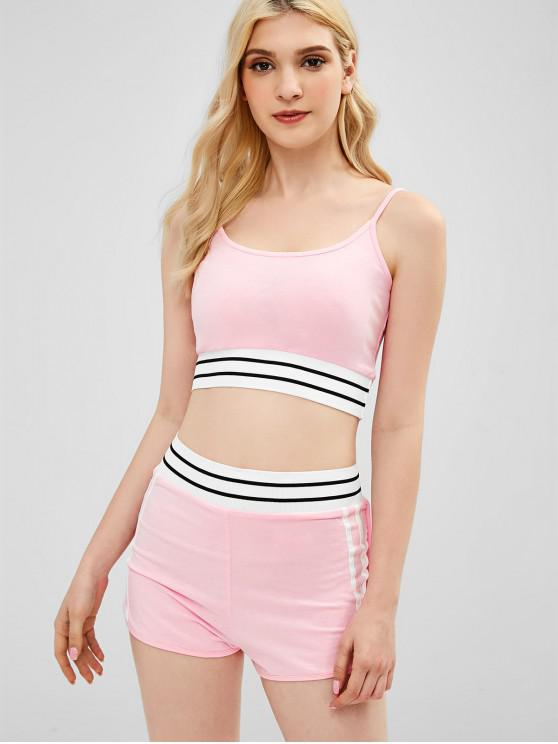 chic Sporty Cami Top and Shorts Two Piece Set - PINK M
