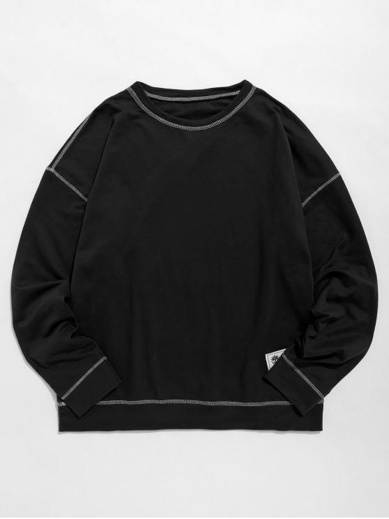 women Contrast Flap Seam Sweatshirt - BLACK XS