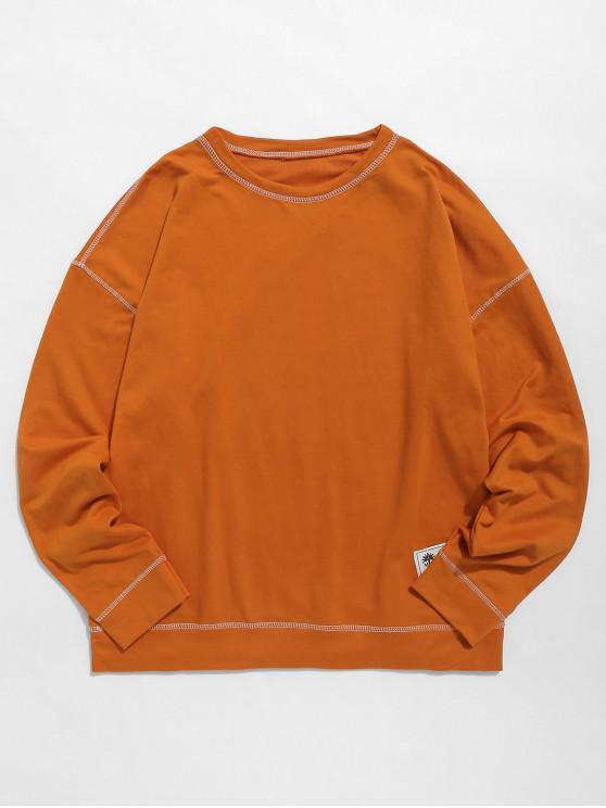 shop Contrast Flap Seam Sweatshirt - PUMPKIN ORANGE XL