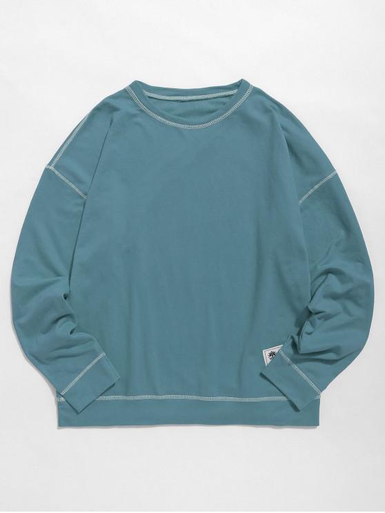 chic Contrast Flap Seam Sweatshirt - DARK TURQUOISE L