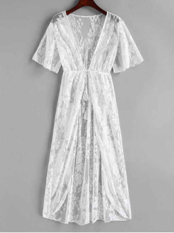 Tie Front Encaje Floral Longline Cover Up - Blanco XL