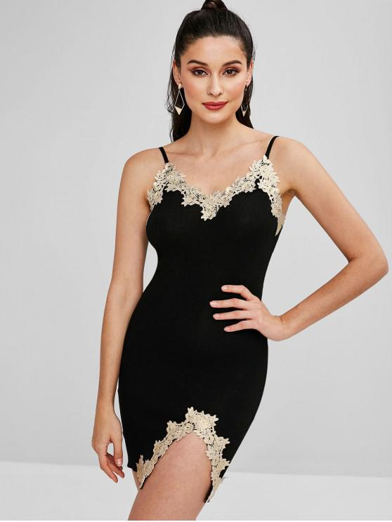 latest Embroidered Patched Slit Bodycon Dress - BLACK ONE SIZE