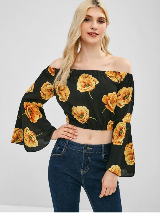 unique Off Shoulder Flare Sleeve Floral Blouse - MULTI ONE SIZE