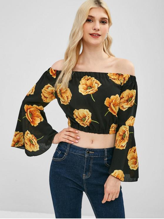 Schulterfrei Flare Sleeve Floral Bluse - Multi Eine Größe