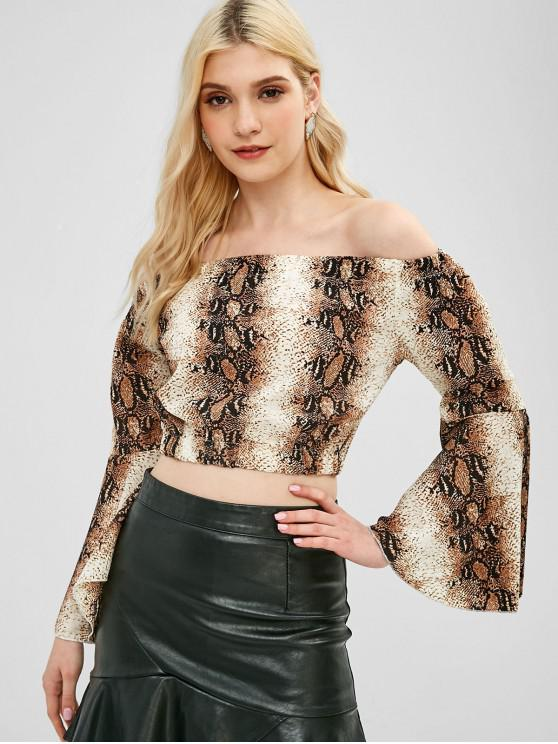 trendy Snake Print Off Shoulder Blouse - MULTI ONE SIZE