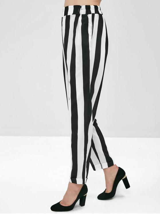 women's Hip Pockets High Waisted Striped Tapered Pants - MULTI M