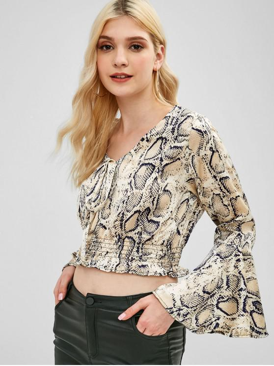 fashion Knotted Flare Sleeve Snake Print Top - MULTI ONE SIZE