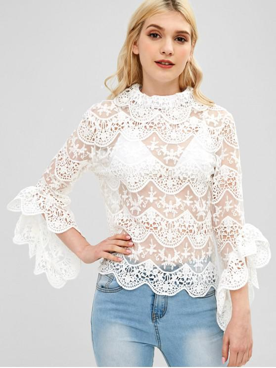 fashion Embroidered Scallop Sheer Blouse - WHITE L