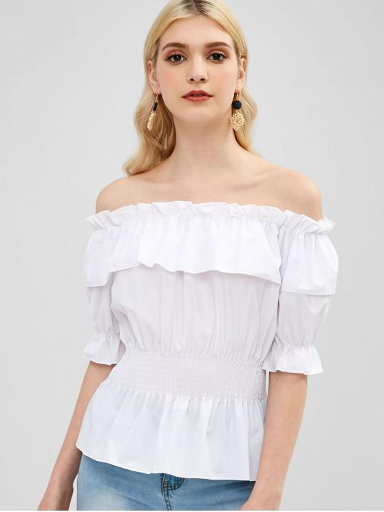 unique Ruffle Shirred-detail Off The Shoulder Blouse - WHITE S